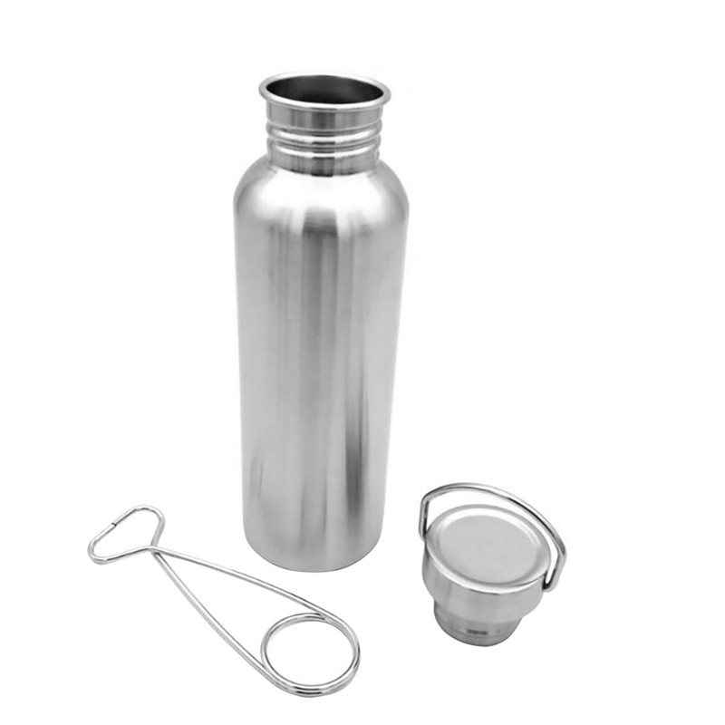 350/500/750ML Portable Stainless Steel Water Bottle with Hook Outdoor Camping Hiking Water Kettle Drinking Tool