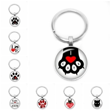 2019 New Cartoon Love Cat Key Ring Cute Claw 25mm Glass Convex Round Children Gift Jewelry