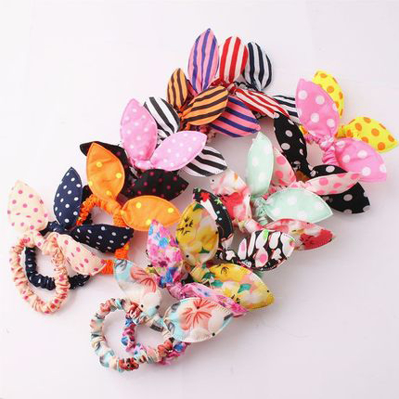 10pcs Rabbit Ear Hairband Organizer Elastic Key Storage