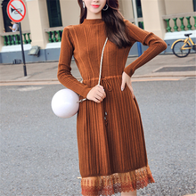 Sweater Dress Korean Fashion Women High Waist Dresses Elegant Lace Knitted Plus Size Vestidos OL