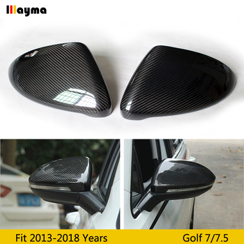 Sport style Carbon Fiber Mirror cover For VW Golf 7 1.4T 1.6L Rline GTI 2013-2018 year MK7 R line replace rear mirror cap 1 pair