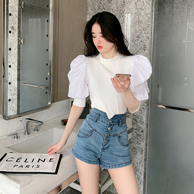 Chic Puff Sleeve Knitted Blouse Women Summer 2020 New Fashion Stretch Knit White Black Shirt Patchwork Blouse Ruffles Tops 5