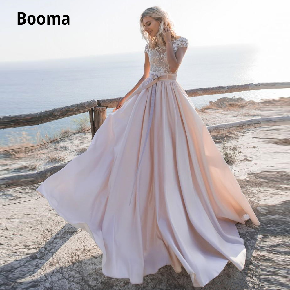 Booma Lace Satin Pink Wedding Dresses Boho 2019 Cap Sleeve A-line Wedding Gowns Beach Bridal Dresses Buttons Back Custom Made
