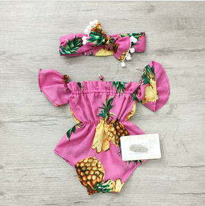 ドロップシッピング新生児の女の子花ロンパースジャンプスーツ遊び着 2 個衣装服