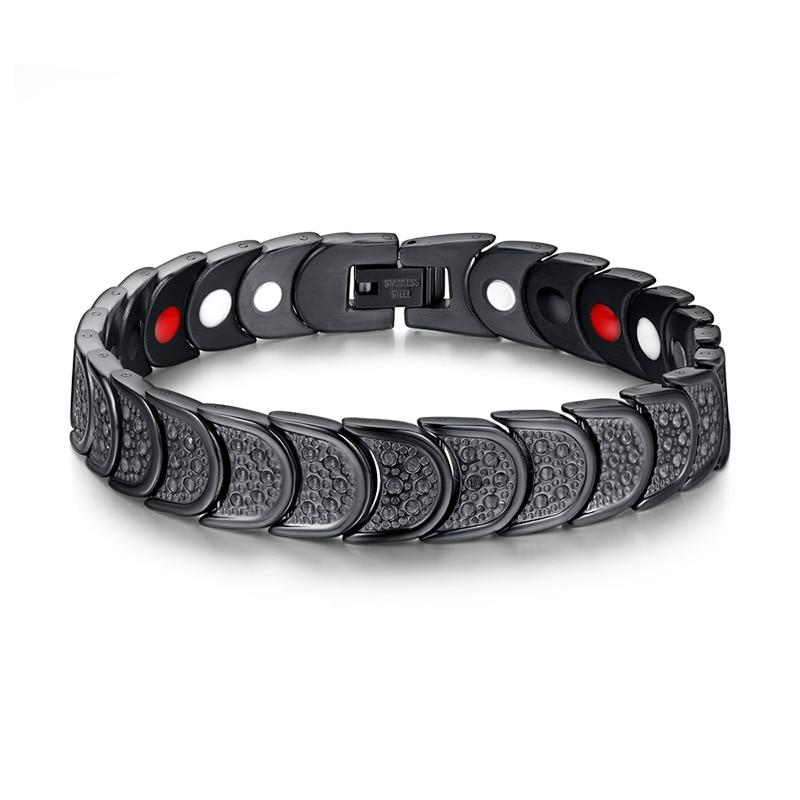 New Korean trend Healing Magnet Bracelet Men Stainless Steel Health Care Magnetic Germanium Energy Power Male Casual Jewelry