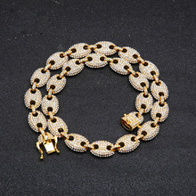 13mm Coffee Bean Link Rhinestone Necklace Gold/Silver Hip hop Fashion Punk Choker Chain Charms Jewelry 8inch 16inch 24inch