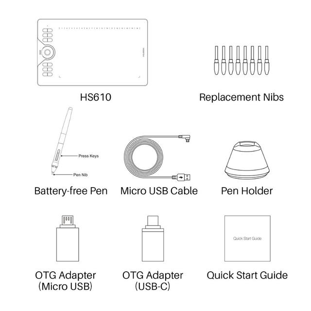 HUION HS610 Graphic Tablets Digital Pen Tablet Phone Drawing Tablet with Tilt OTG Battery-Free Stylus for Android Windows macOS 5