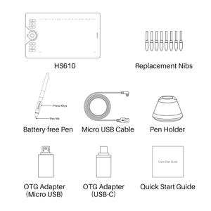 Image 5 - جهاز لوحي للرسم, أجهزة لوحية للرسومات من HUION HS610 مزودة بقلم رقمي على شكل جهاز لوحي للهاتف اللوحي والرسم مزود بقلم إمالة OTG خالٍ من البطارية لنظام التشغيل Android Windows macOS