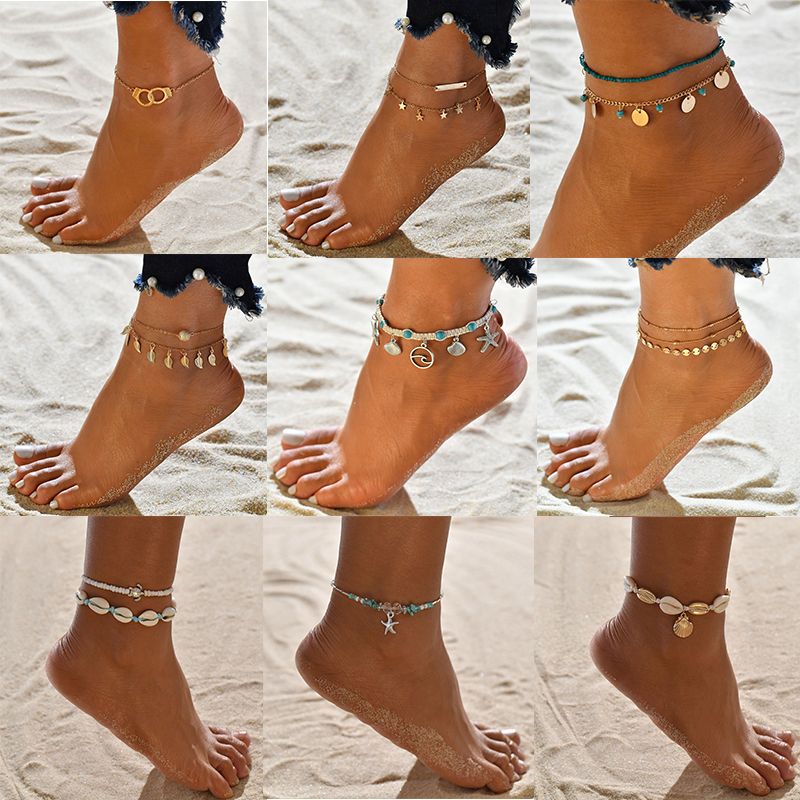 XIYANIKE Bohemian Multilayer Shell Beads Anklets For Women Vintage Star starfish Ankle Bracelets on Leg Foot Chain Summer Beach