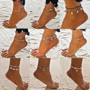 XIYANIKE artystyczny wielowarstwowy muszelki koraliki obrączki dla kobiet Vintage Star rozgwiazda bransoletki na kostki na nogawce łańcuszek na kostkę Summer Beach