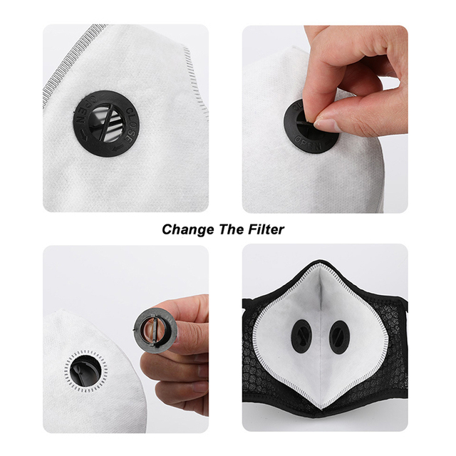 Face Mask With Filter Breathing Valve Activated Carbon PM 2.5 Anti-Pollution Bicycle Cycling Sports Protection Bike Dust Mask 2