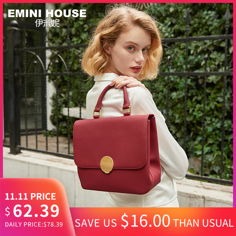 EMINI HOUSE Women Padlock Top-Handle Bags Split Leather Hand Bag Ladies Luxury Handbags Bags Designer Shoulder Bag Women