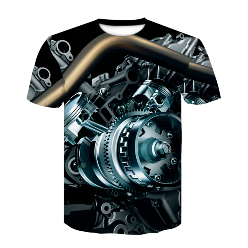3D Motorcycle T-shirt Punk Clothing Retro Clothes Mechanical Tshirt Tops Tees Men Summer Funny Print T-shirt Mens Tee Plus Size 1