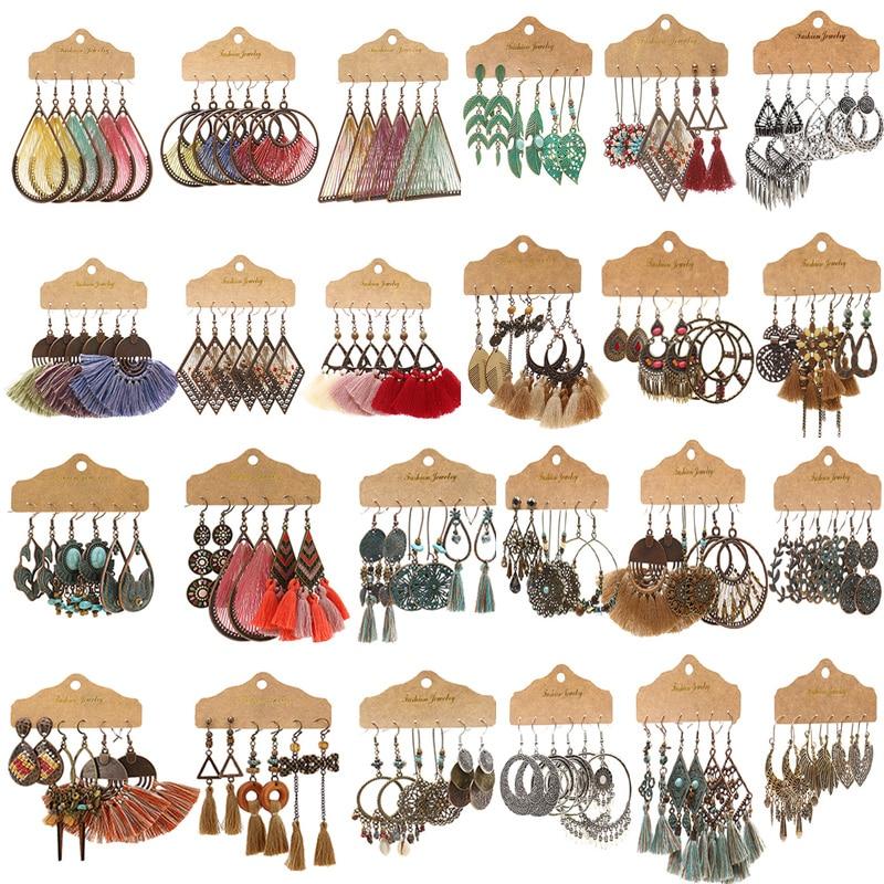Exknl 3 пары круглых больших винтажных висячих сережек, женские этнические богемные висячие серьги с кисточками и длинными цветами, ювелирные ...