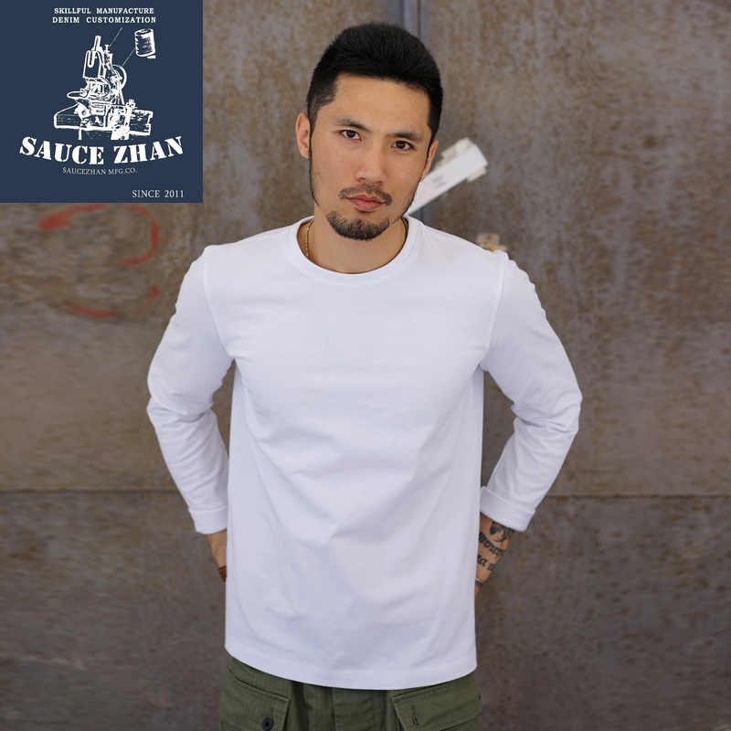 Saucezhan Berat Penuh T-shirt Katun Putih Solid Pria T-shirt O-neck Kerah T Shirt Berat 290G Pria Musim Gugur Musim Dingin t-shirt
