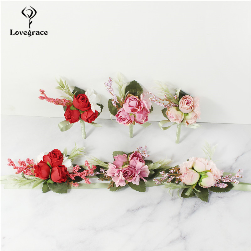 Lovegrace Boutonniere and Corsage Groom Brooch Pins Bride Wrist Corsage Silk Rose Girl Bracelet Men Prom Wedding Boutonniere