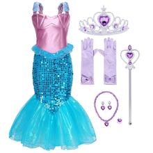 AmzBarley Little Mermaid Costume Fancy Ariel Dress up Girls Sequin Princess Birthday Party Cosplay Clothes girls