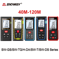 Original SNDWAY Laser Distance Meter 40-120M Rangefinder With Area Angle Volume Pythagorean Measure 90 Units Data Measuring Tool