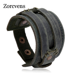 ZORCVENS New Fashion Men Wide Genuine Leather Bracelet Brown Wide Cuff Bracelets & Bangles Vintage Punk Wristband Men Jewelry