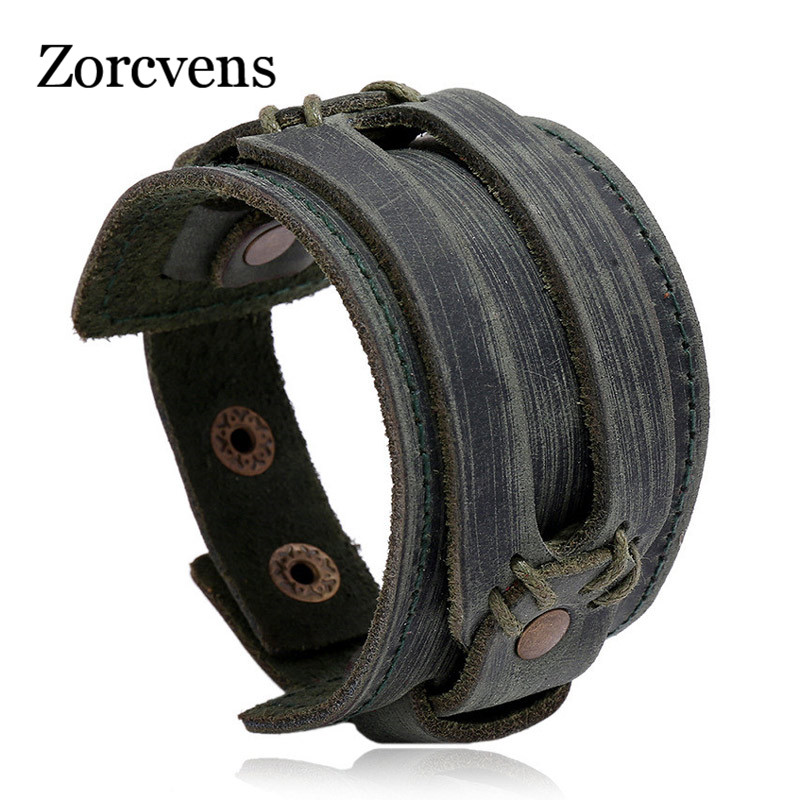 ZORCVENS New Fashion Men Wide Genuine Leather Bracelet Brown Wide Cuff Bracelets & Bangles Vintage Punk Wristband Men Jewelry