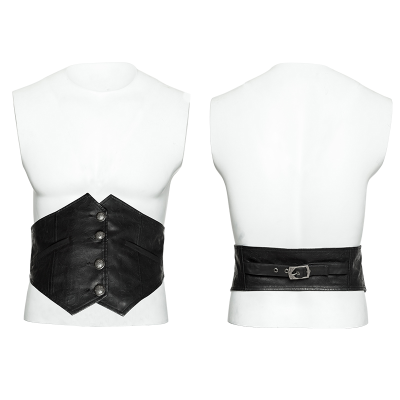 PUNK RAVE Men's Gothic Gorgeous Vintage Pattern Girdle PU Leather Metal Grass Grain Silver Button Stage Performance Girdle