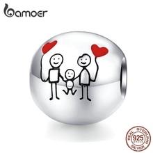 Bamoer, семейный Шарм,, 925, браслет на запястье, круглые металлические бусины для женщин, семейные подарки, сделай сам, изготовление ювелирных изделий SCC1339