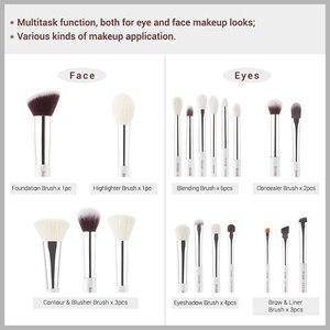 Image 4 - Jessup Make Up Pinsel Weiß/Silber 20 stücke pinceaux maquillage Professionelle Lidschatten Foundation Pulver Make Up Pinsel Kit T245