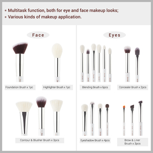 Image 4 - Jessup Up Kwasten Wit/Zilver 20Pcs Pinceaux Maquillage Professionele Oogschaduw Foundation Poeder Make Up Borstel Kit T245