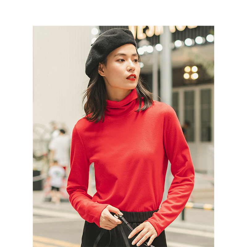 INMAN Spring Autumn Winter Viscose Elastic High Collar Fashion All Matched Casual Literary Women T-shirt 3
