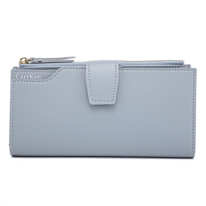 Модный женский кошелек из мягкой искусственной кожи на молнии длинный женский кошелек-клатч дизайнерский Кошелек для монет и карт черный - Цвет: Blue