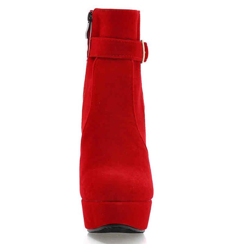 Karinluna 2020 büyük boy 43 parti çizmeler kadın ayakkabı kadın moda yüksek topuklu seksi parti sonbahar kış yarım çizmeler kadın ayakkabısı