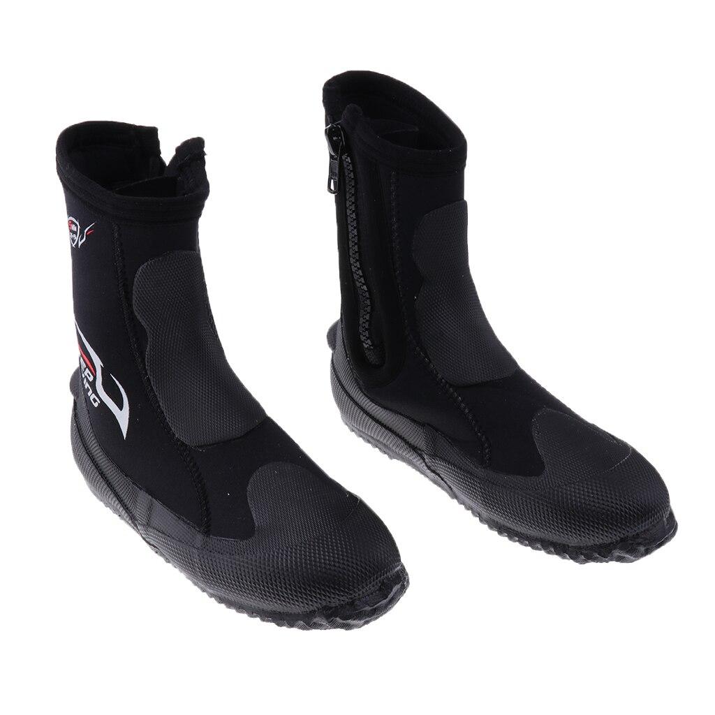 Unisexe 5mm Premium néoprène salut haut combinaisons bottines à fermeture éclair bottes de plongée Sports nautiques plongée en apnée chaussons chaussures - 3
