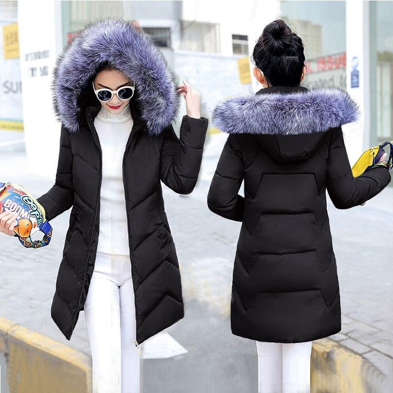 YAYUMI Women Winter Big Fur Collar Coat Padded Coat Long Sleeve Zipper Pocket Overcoat Warm Solid Color Jacket