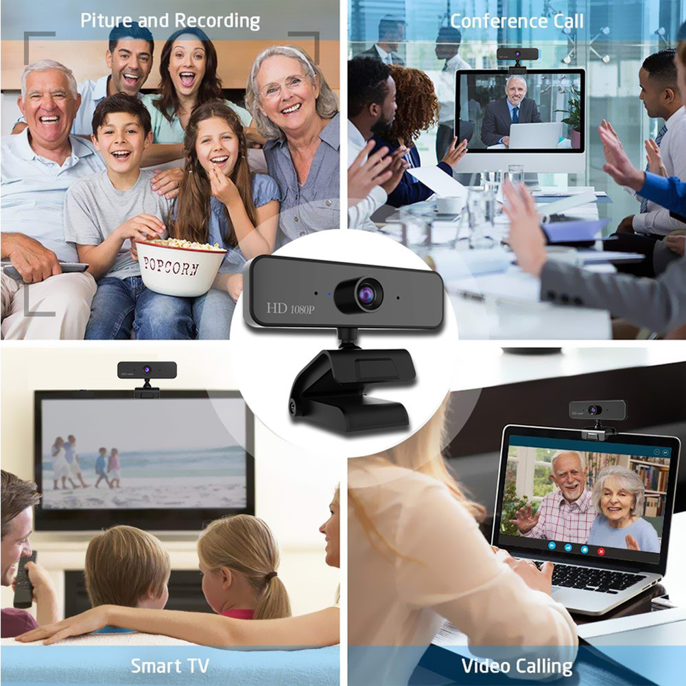 480P/720P/1080P USB Webcam for Video Calling/Recording with Auto White Balance/Color Correction 4
