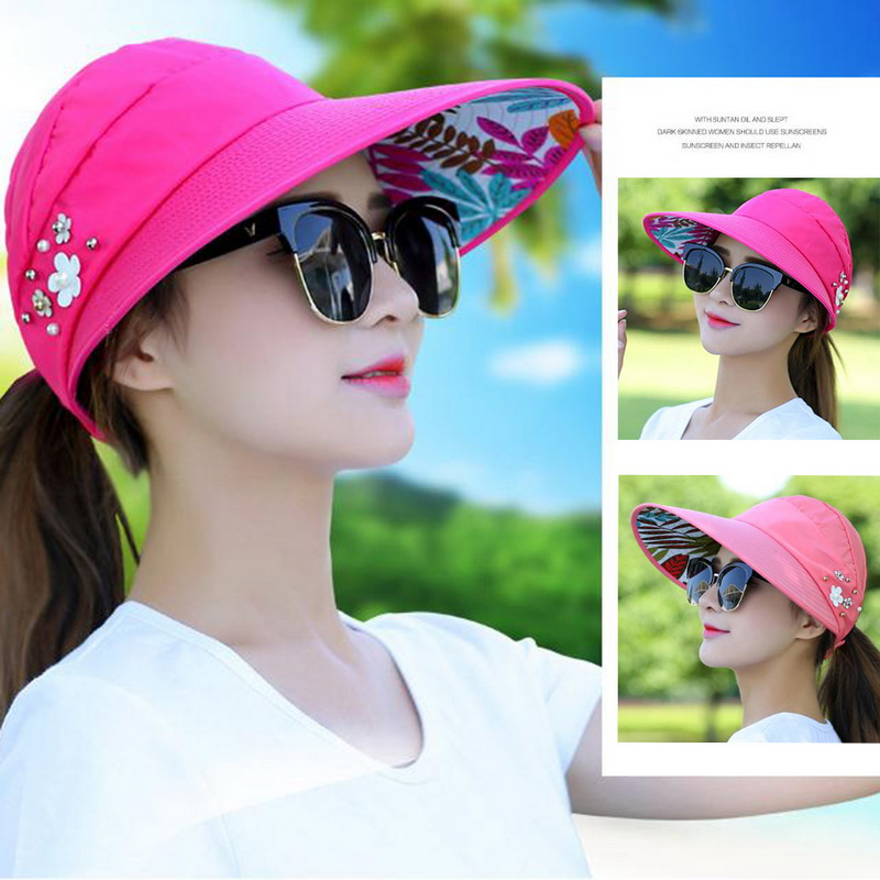 2020 Simple Women Summer Beach Sun Hats Pearl Packable Sun Visor Hat With Big Heads Wide Brim Female Cap UV Protection