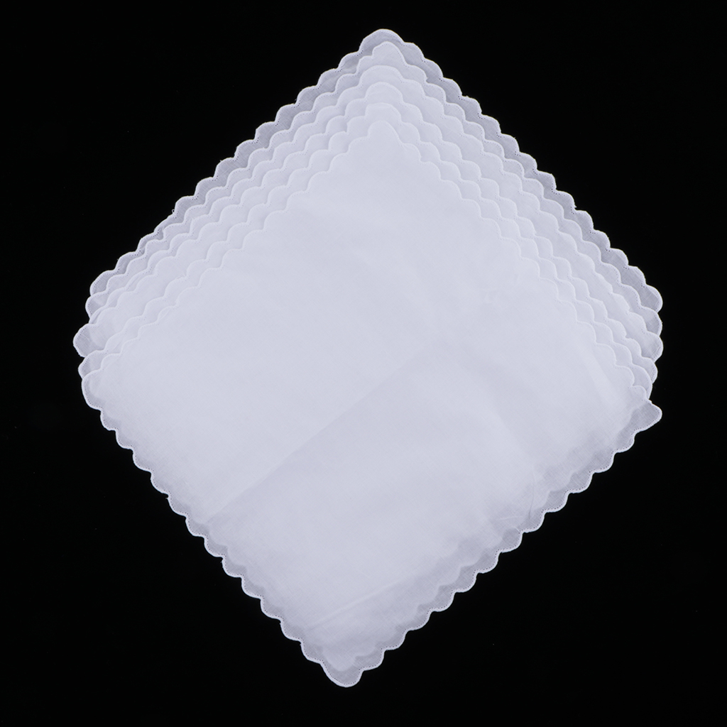 6x Blank White 100% Cotton Hanky Kerchief Craft Wedding Party Handkerchief  White Solid Blank Chest Towel