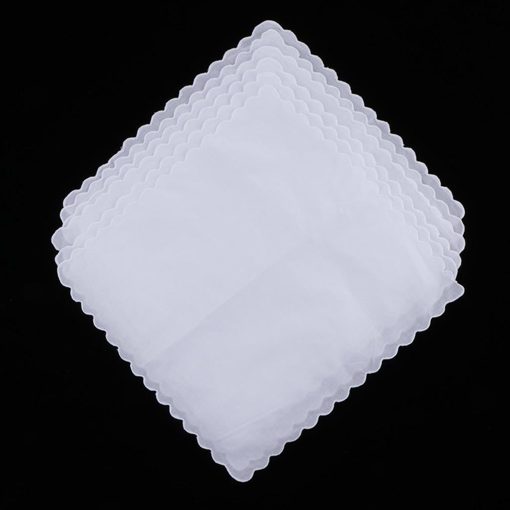 6x Blank White 100% Cotton Hanky Kerchief Craft Wedding Party Handkerchief  White Solid Blank Chest Towel
