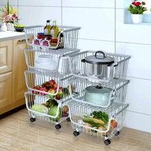 Бытовая многослойная напольная корзина для хранения фруктов и овощей из нержавеющей стали для кухни, подвижная сборка, полки для ванной комнаты, колеса