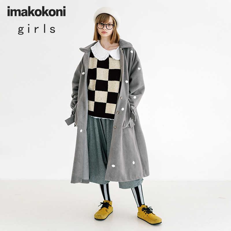 Пальто Imakokoni из шкуры ягненка серого цвета с бантом, Длинное свободное Женское пальто для осени и зимы, 192783