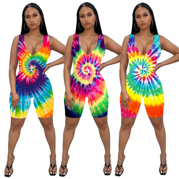 2020 Summer Women s Jumpsuit Siamese Trousers European and American Ladies Fashion Sexy Tie-Dye Printed Rompers