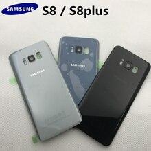 Orijinal arka cam Samsung S8 G950 G950F/S8 + G955 G955F S8 artı muhafaza pil kapağı arka kapı durumda Sticker ile