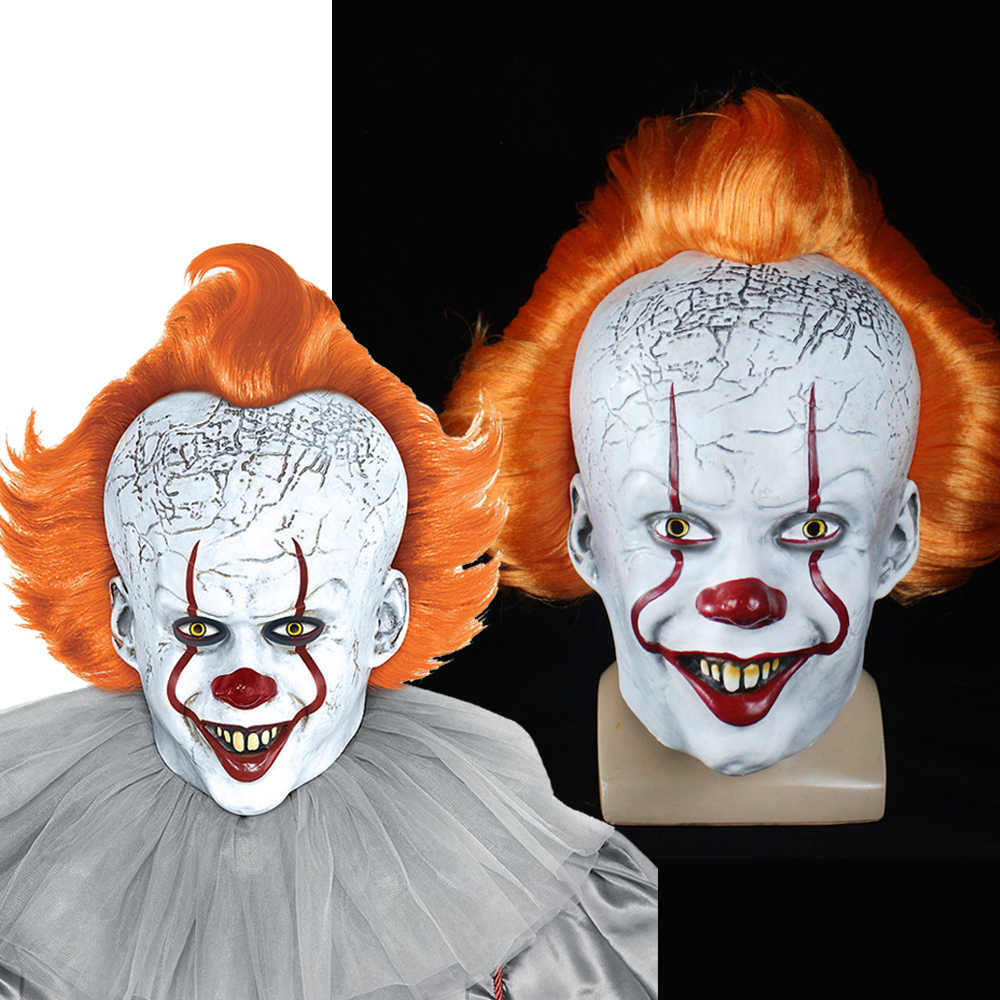 Stephen King Maschera di Penny Weiss Horror Clown Giallo Dei Capelli Maschera Da Clown Spaventoso Halloween Cosplay Costume di Scena