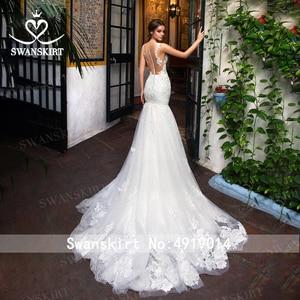 Image 2 - סקסי אפליקציות בת ים חתונת שמלה מתוקה אשליה תחרת משפט רכבת Swanskirt GI14 כלה שמלת נסיכת Vestido דה novia
