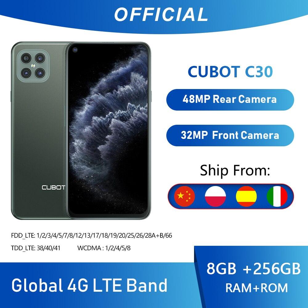 Cubot C30 48MP Quad AI Della Macchina Fotografica 8GB + 256GB 32MP Selfie Smartphone Globale 4G LTE Helio P60 NFC 6.4 Pollici FHD + 4200mAh Android 10