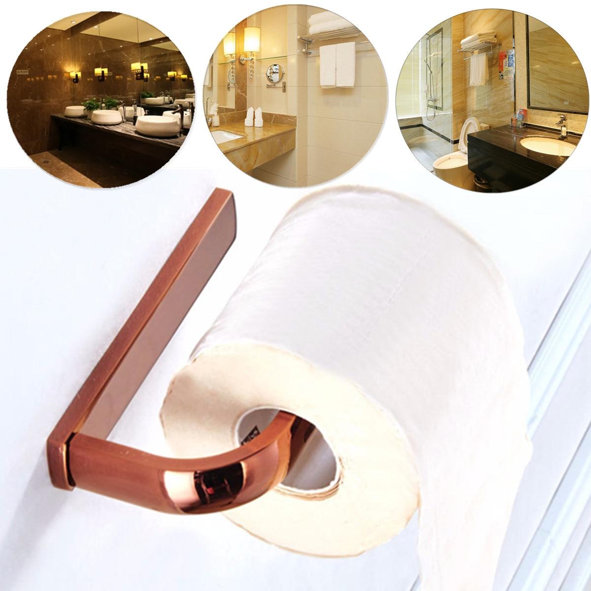 Antique Luxury Rose Gold Polished Brass Bathroom Paper Holder Towel Rack Toilet Paper Holder Modern Wall Mount Roll Holder