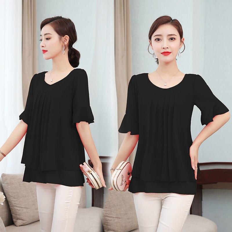 2021 Summer obesity Mid-length Chiffon Blouse Plus Size 5XL Women Short sleeve Beautiful Self-cultivati Shirt blouse Show thin 3