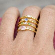 Fashion 4pcs/set Gold Color Plating Simple Boho Rings Women Zircon bohemian Engagement Ring