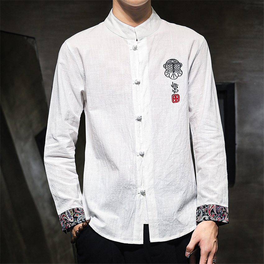 Retro Mens Linen Cotton Summer Casual Shirts Chinese Style Tang Suit Coat