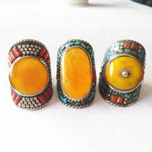 R016 Tibetan Rings Nepal Vintage Big Ring Copper Inlaid Simulated Honeywax Big Size for Man