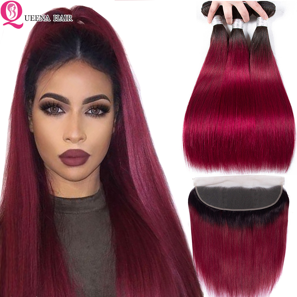 Straight Hair 1B Burgundy Bundles With Frontal Closure Peruvian Human Hair Colored Burgundy Ombre Bundles With Frontal Remy